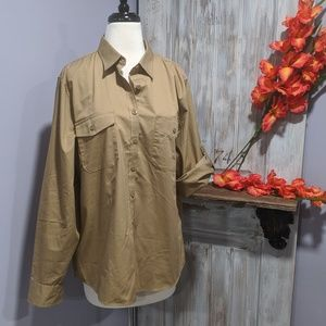 NWOT Lands'End khaki button-up shirt